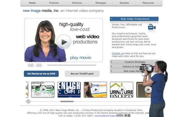 walk-on video spokesperson - New Image Media homepage screenshot
